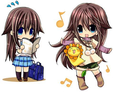 cute anime chibi friends. so chibi Hikage reading